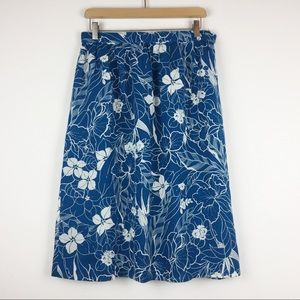 Vintage floral Hawaiian skirt teal blue and white